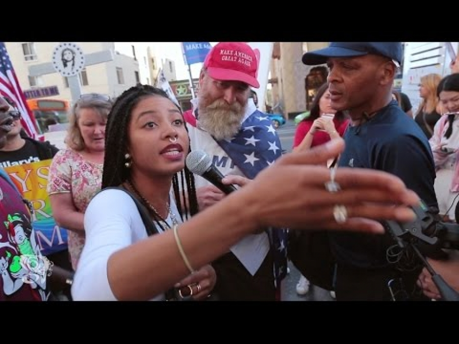 "Black girl on street asks Trump supporters ""What will he do for my people"""